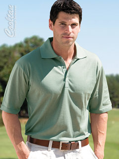 Sage Tan-Through Shirt (Polo Style with Sporty Rib Collar)