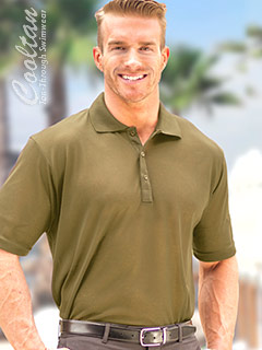 Olive Drab Tan-Through Shirt (Polo Style with Sporty Rib Collar)