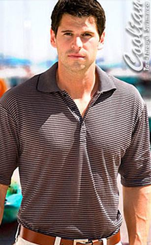 Dark Gray/Black Stripe Mens Polo