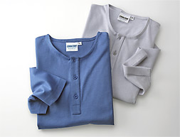COOLTAN, TanThrough Shirt Collar-Less Solid Blue