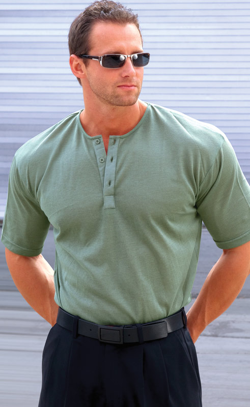Sage Mens Collar-less Shirt
