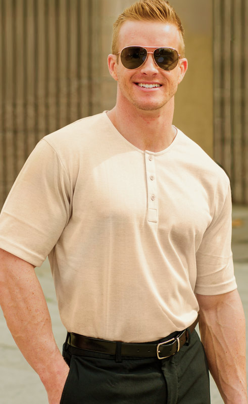 Tan Mens Collar-less Shirt