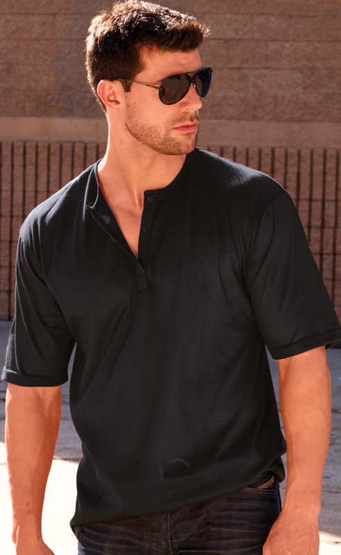 Black Tan-Through Shirt (Polo Style with Casual Henley Collar)