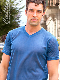 Blue Tan-Through T-Shirt (with VNeck)