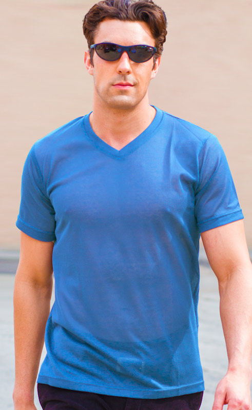 Mens Blue V-Neck Shirt