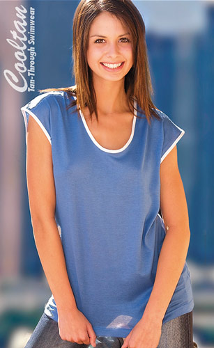 Blue Womens Scoop Neck