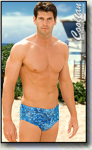 The BLUE AZTEC Tan-Through Wide Side Racer Swim Trunk