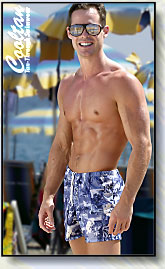 Mens Tan-Through Swim Trunks