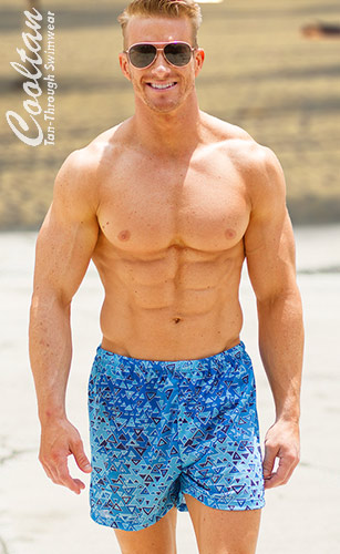 Blue Aztec ♦ Swim Shorts (Tan-Through Swimwear)