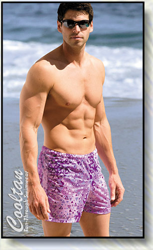The PURPLE AZTEC Tan-Through Mid-Thigh Swim Shorts