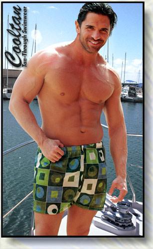 Green Chex Swim Shorts