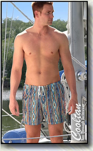The SANTA FE Tan-Through Mid-Thigh Swim Shorts