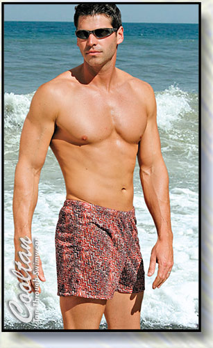 The RED SPICE Tan-Through Mid-Thigh Swim Shorts