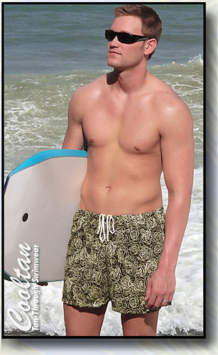 The LUAU Tan-Through Mid-Thigh Swim Shorts
