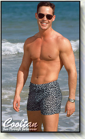 The BLACK CHEETAH Tan-Through Mid-Thigh Swim Shorts