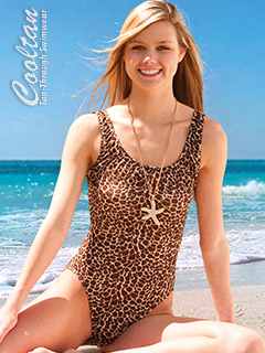 Gold Cheetah One Piece Tank Top Swimsuit