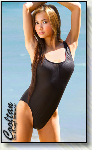 Solid Black 1PC Tank Top Suit