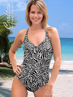 B&W One Piece Structured Top Swimsuit