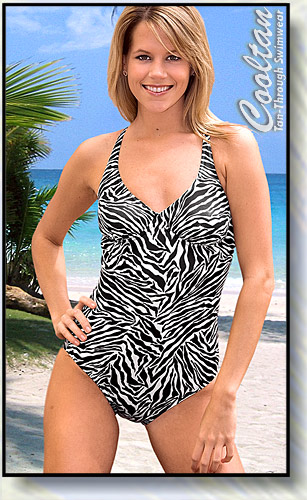 Cooltan Tan-Through B&W Zebra 1PC Structured Top Suit