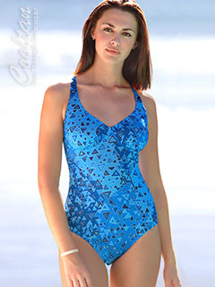 Blue Aztec One Piece Structured Top Swimsuit