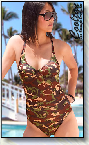 Camouflage 1PC Structured Top Suit