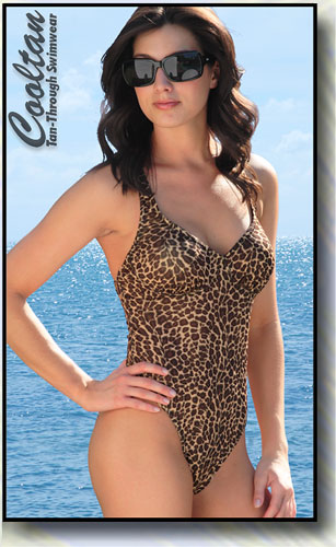 Cooltan Tan-Through Gold Cheetah 1PC Structured Top Suit