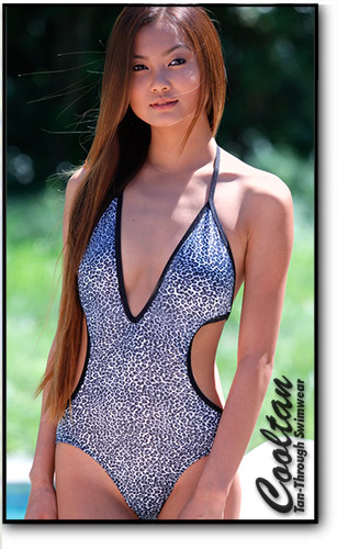 Cooltan Tan-Through Black Cheetah 1PC Deep Plunge Suite