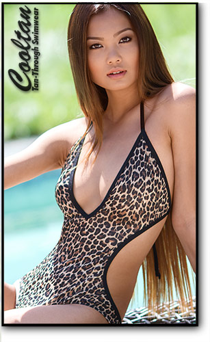 Cooltan Tan-Through Gold Cheetah 1PC Deep Plunge Suit