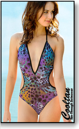 Cooltan Tan-Through Moonlight 1PC Deep Plunge Suit