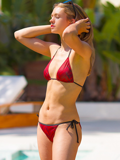 Merlot tan-through string bikini