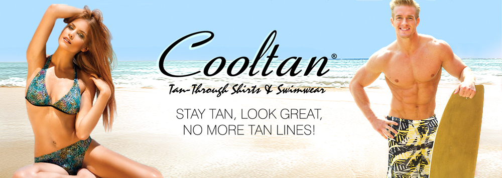 Mens swim trunks and womens swimwear you can tan through